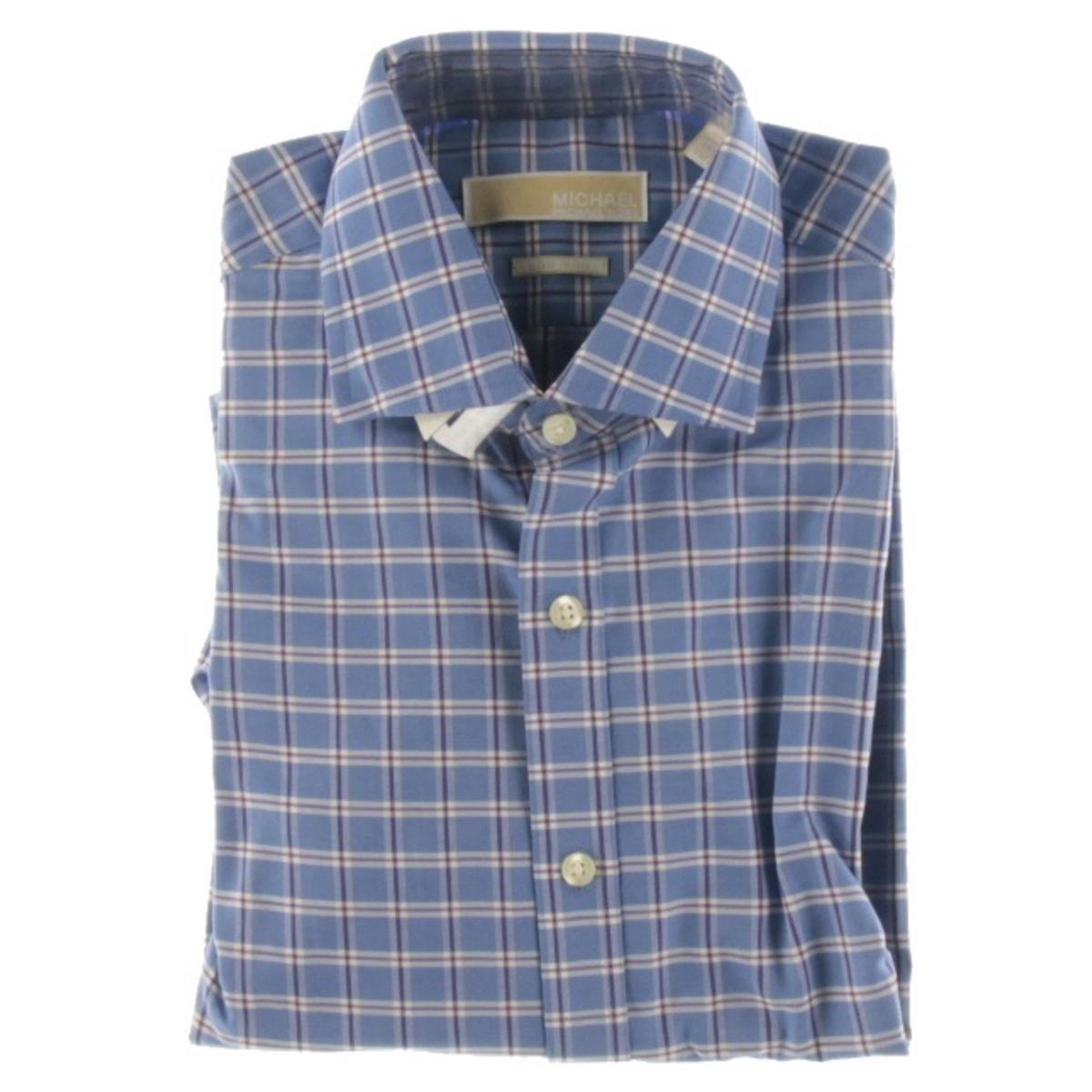 Michael Michael Kors Mens Non Iron Checkered Dress Shirt Blue At