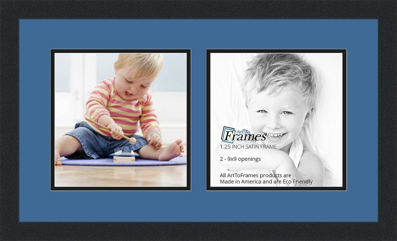 ArtToFrames Alphabet写真画像フレームwith 2 – 5 x 5 openings.とサテンブラックフレーム。 2 - 8.5x8.5 ブルー Double-Multimat-1988-837/89-FRBW26079 B00HGZL90M 2 - 8.5x8.5,ダークブルー(Midnight Blue)