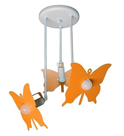 Plafón techo lámpara naranja modelo mariposa niños sala ...