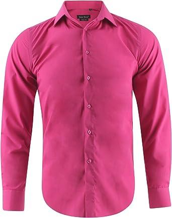 Enzo Camisa Slim Fit Fushia Para Hombre con Manga Larga Shirt ...