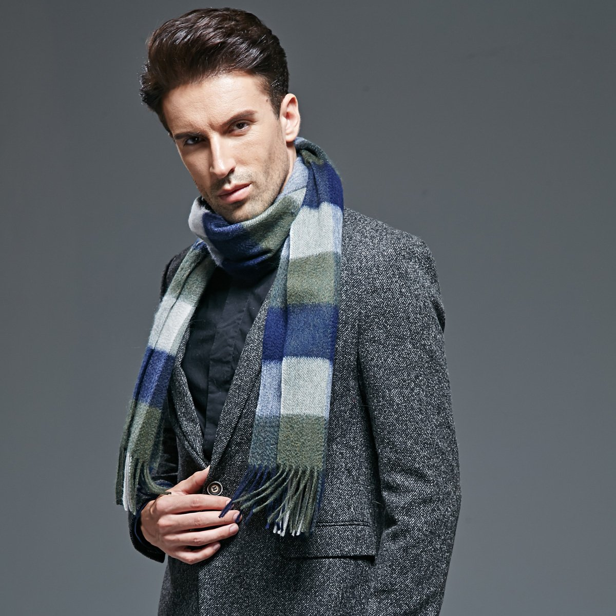 Thick European and American Plaid cashmere scarf gift