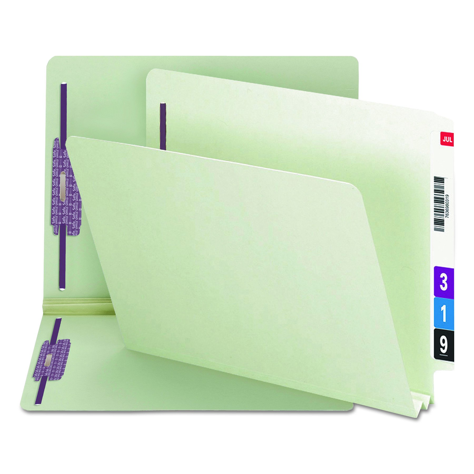Smead End Tab Pressboard Fastener File Folder with SafeSHIELD Fasteners, 2 Fasteners, 2'' Expansion, Letter Size, Gray/Green, 25 per Box (34715)