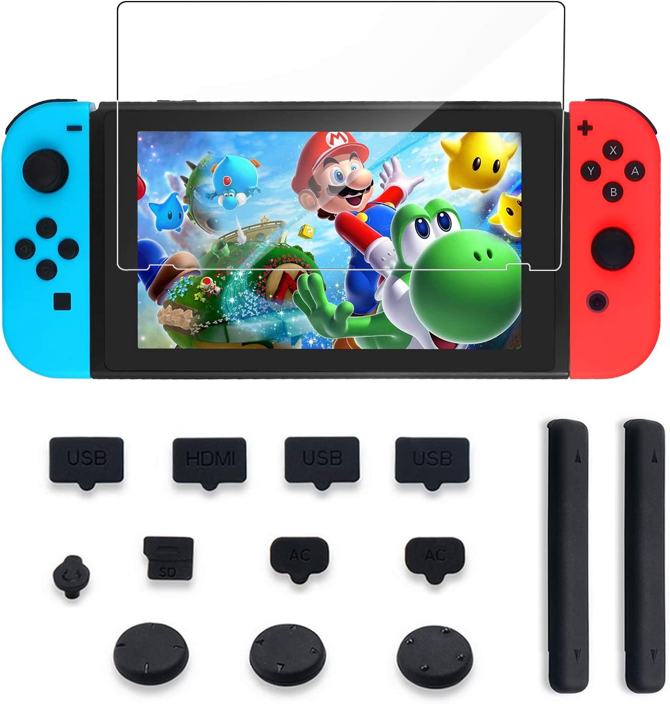 Protector Kit for Nintendo Switch Include Kingtop Nintendo Switch Tempered Glass Screen Protector+Dust Proof Rubber Plug Kit +Extension Card Slot