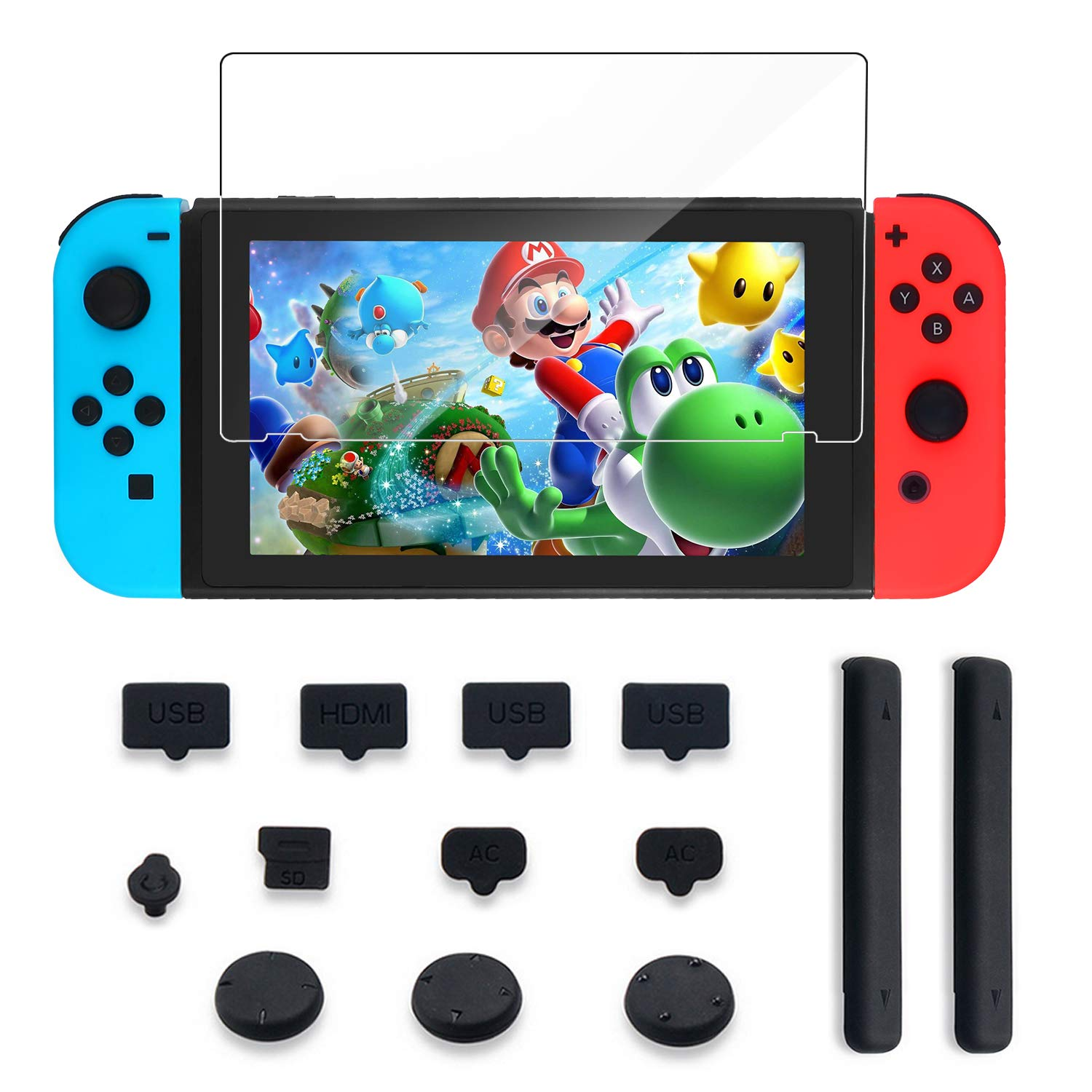 Protector Kit for Nintendo Switch Include Kingtop Nintendo Switch Tempered Glass Screen Protector+Dust Proof Rubber Plug Kit +Extension Card Slot by KINGTOP