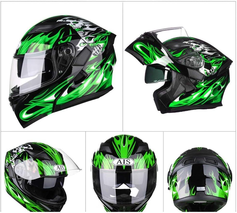 DBY Boy Bluetooth Helm Motorrad Integralhelm Klapphelm Schwarz Gr/ün 54-64CM Motorradhelm mit Doppellinse