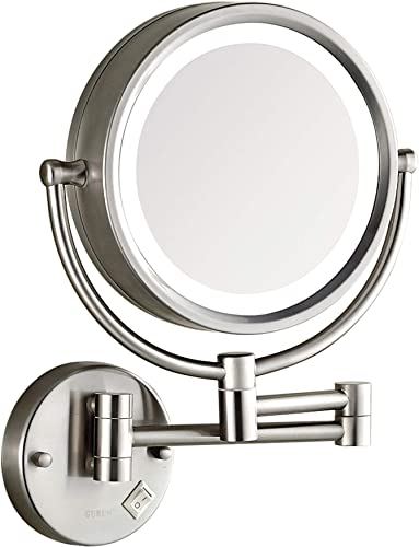 DOWRY Makeup Mirror Wall Mounted Lighted with 10X Magnification, Direct Wire, 8 Inch Cordless Hardware Magnifying Mirror Wall, Made of Brass 304 Staniss Steel Brush Nickel 09N