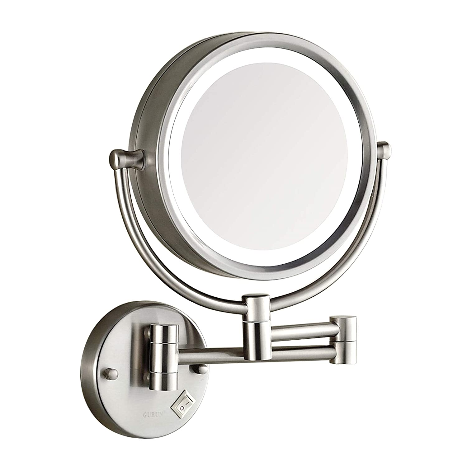DOWRY Makeup Mirror Wall Mount Lighted with 10X Magnification,8Inch Plug Powered, Brush Nickel Bathroom Mirror 09N