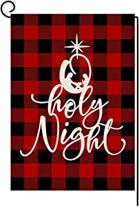 Christmas Holy Night Garden Flag 12x18 Vertical Double Sided Red Black Buffalo Check Plaids Farmhouse Burlap Yard Outdoor Decorations (164086)