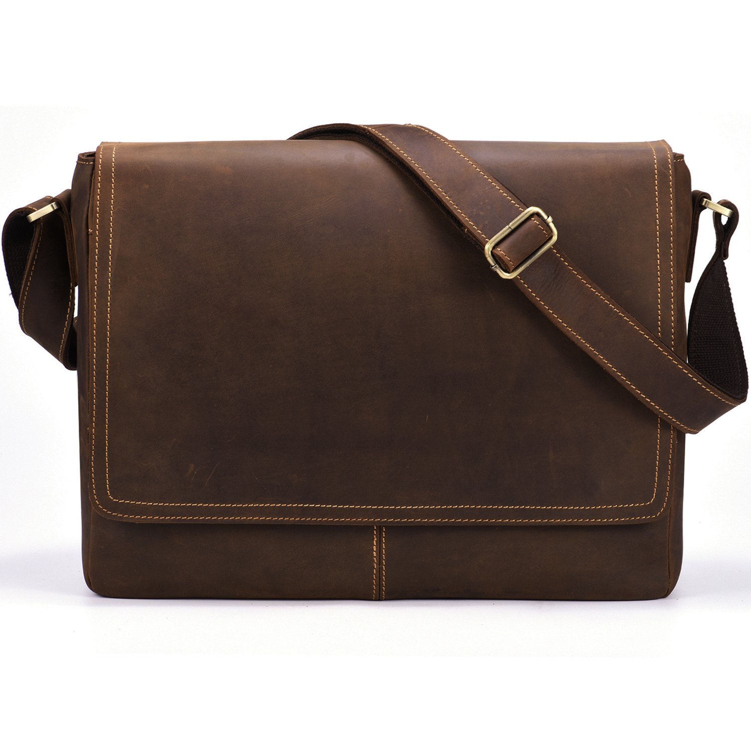 Kattee Mens Leather Flapover Everyday Work Laptop Messenger Bag ...