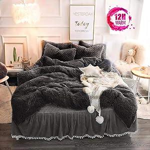 MUKKA Plush Shaggy Duvet Cover Set Queen Luxury Ultra Soft Longfur Faux Fur Crystal Velvet Bedding Sets Dark Grey 3 Pieces (1 Faux Fur Duvet Cover + 2 Pompoms Fringe Pillow Shams), Zipper Closure