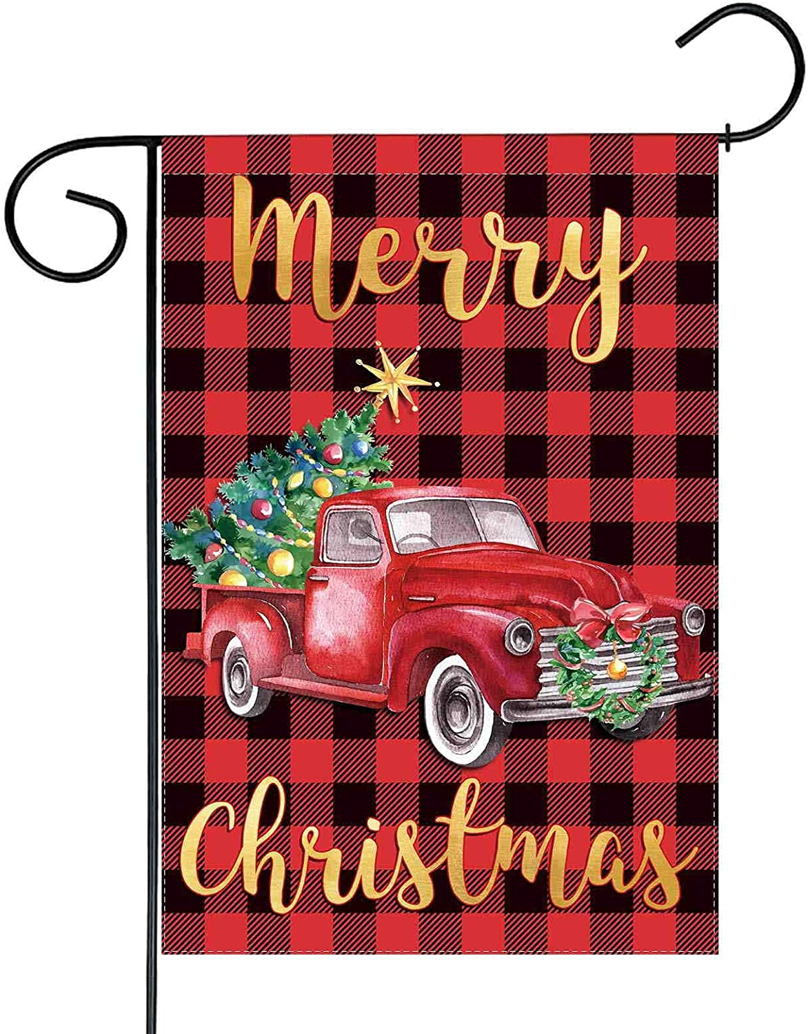 Funnytree Merry Christmas Red Truck Garden Flag Buffalo Plaid Outdoor Decor Xmas Tree Winter New Year Yard Flags Farmhouse Decoration Vertical Double Sided 12x18in