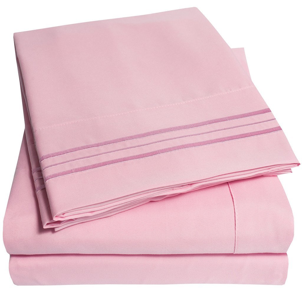 4 Piece, Full, Pink Bed Sheet Set