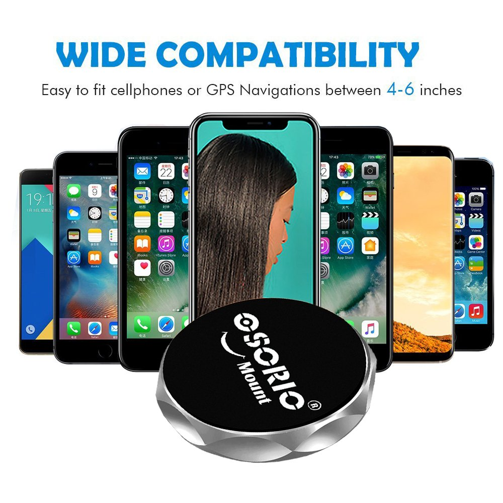 7 HTC LG and More 2 packs 6Plus Samsung Galaxy S8,S7,S6Note Silver OSORIO Magnetic Dashboard Cell Phone Holder Universal Flat Stick on Dashboard for iPhone X,8 OS-CM04SLV2