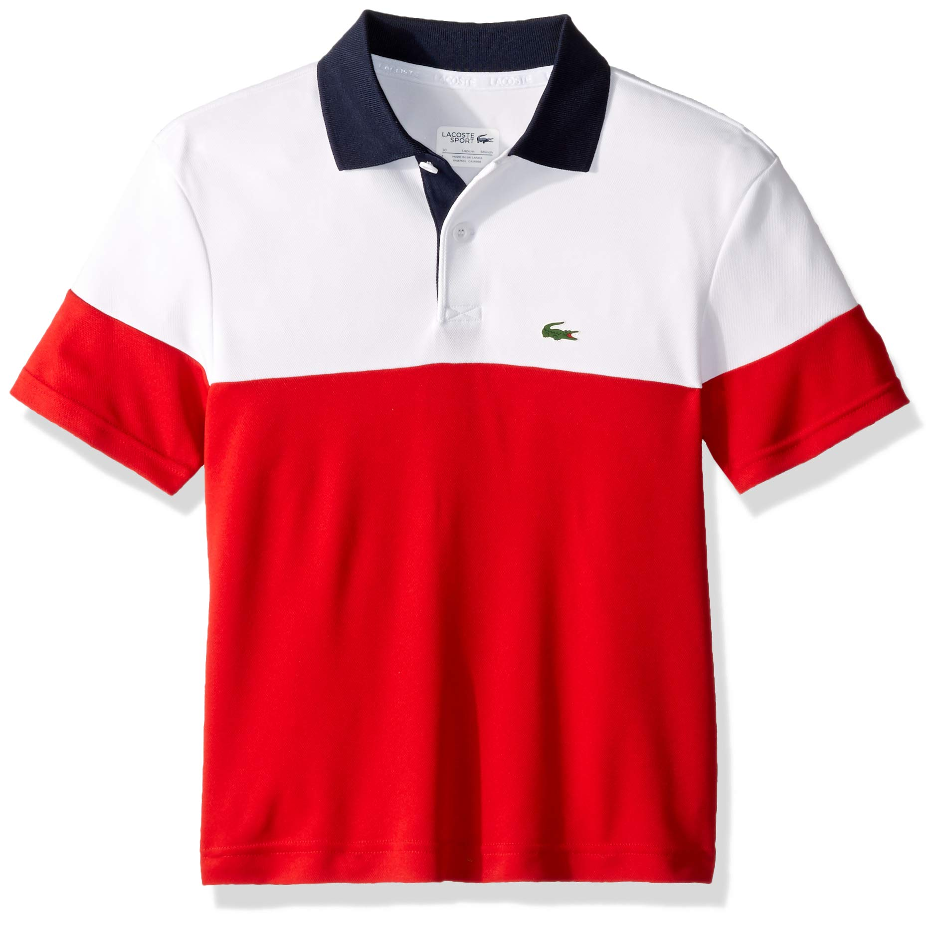Lacoste Big BOY Poly Color Block Polo, White/red/Navy Blue, 16YR