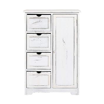 Rebecca Mobili Cajonera vintage, aparador con 4 cajones, 1 puerta, madera de paulonia, gris blanco, cuarto de baño dormitorio - Medidas: 82 x 55 x 30 ...
