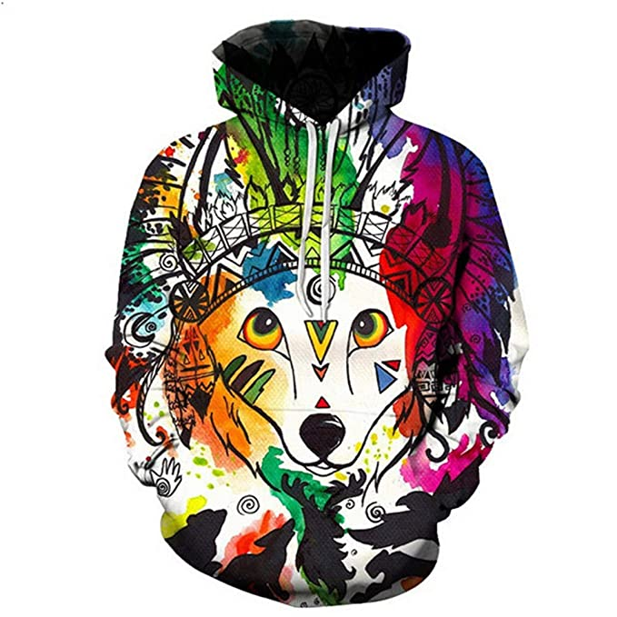 Cool 3D Print Horned Fox Blue Hoodies Unisex Hipster Hiphop Streetwear at Amazon Mens Clothing store: