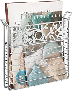 mDesign Decorative Modern Metal Wall Mount Magazine Holder, Organizer - Space Saving Compact Rack for Magazines, Books, Newspapers, Tablets, Laptops in Bathroom, Family Room, Office - Chrome