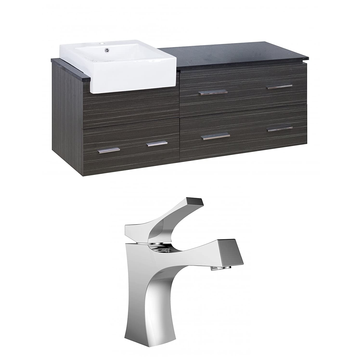 American Imaginations AI-999-10597 Modern Grey Plywood Vanity Set with One Hole CUPC Faucet, Dawn Grey