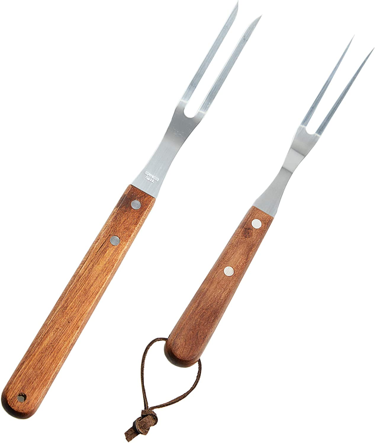Fantasyon 2 Pack Meat Fork with Wooden Handle, Stainless Steel Meat Forged Carving Fork for Kitchen Roast (13 Inch, 10 Inch)