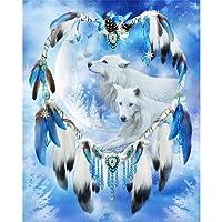 Arvin87Lyly DIY 5D Diamant Peinture Broderie de diamants Point de Croix Résine Décoration Eagle Dream Catcher Wolf Totem Patterns Maison Salon Chambre