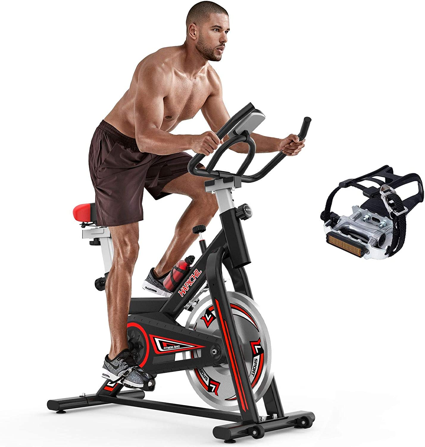 HAPICHIL Exercise Bike for Cardio Training, Stationary Bikes, Heavy Flywheel Bicycle with MAGNETIC RESISTANCE for Home Gym, Cycle Bike with Ipad Mount & Comfortable Seat Cushion
