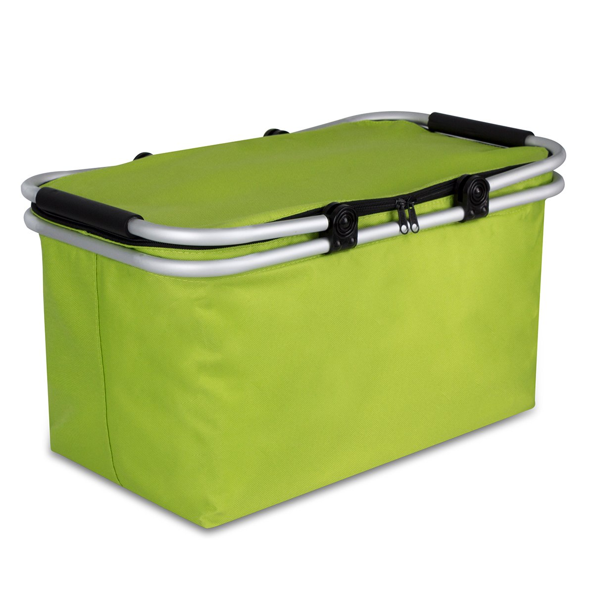 WISHPOOL Oxford Cloth Insulated Lunch Bag Reusable Collapsible Cooler Tote Box for Picnic Hiking (Green)