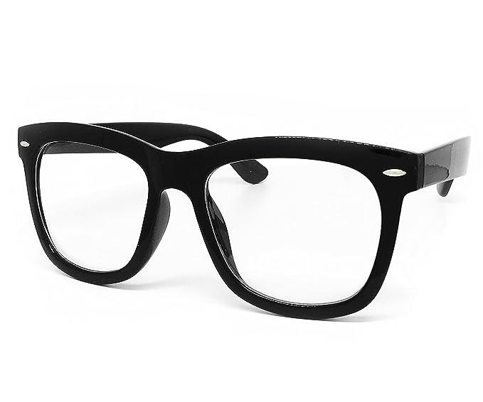bf336b34c01c1 O2 Eyewear 97803 Oversized Vintage Classic Nerd retro Men Women Wayfarer  Clear Lens Glasses (Clear