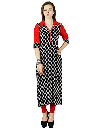 5542a1c52900 Bimba Women Custom Kurta Kurti Rayon Short Sleeve Summer Tunic Long Top  Blouse Indian Clothing