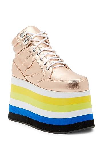 06913935996 Shellys London Dema Rose Gold Leather Flatform Rainbow Coolest Platform  Sneaker (36)