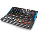 6-Channel Bluetooth Studio Audio Mixer - DJ Sound Controller Interface with USB Drive for PC Recording Input, XLR Microphone