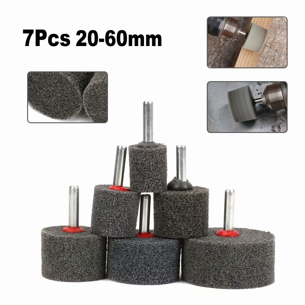7Pcs 20-60mm Nylon Fiber Polishing Wheel Set Buffing Pad Grinding Head With 6mm Shank for Stainless Steel, Marble, Wooden Furniture and other Polishing