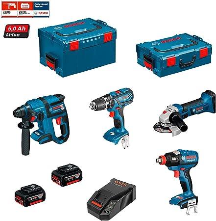 BOSCH Kit PSG4P2C (GBH 18V-EC + GSB 18-2-LI + GWS 18V-LI + GDX 18V-EC + 2 x 5,0Ah + AL1860CV + L-Boxx 238 + L-Boxx 136): Amazon.es: Bricolaje y herramientas