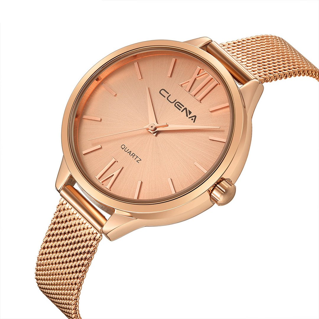 CUENA Women Classic Quartz Watch, Roman Numeral Business Casual Wrist Watch Waterproof 30M, with 33mm Dial Face Three-hand Movement Slim Mesh Band (Rose Gold)
