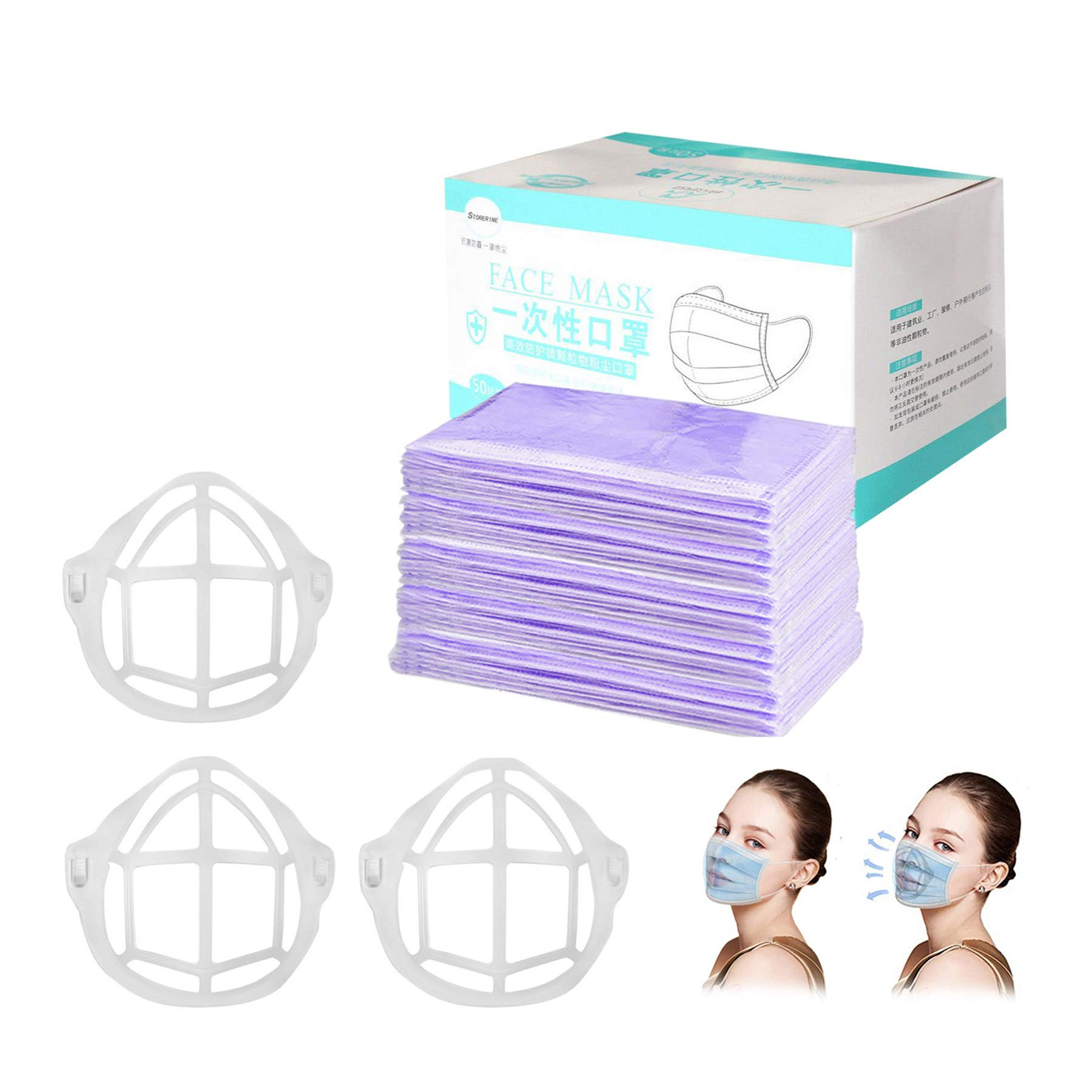 Adults Individually Wrapped Disposable Face Macks - 50 Pack - Soft on Skin - 3 Ply Elastic Earloops Bandanas Daily with…