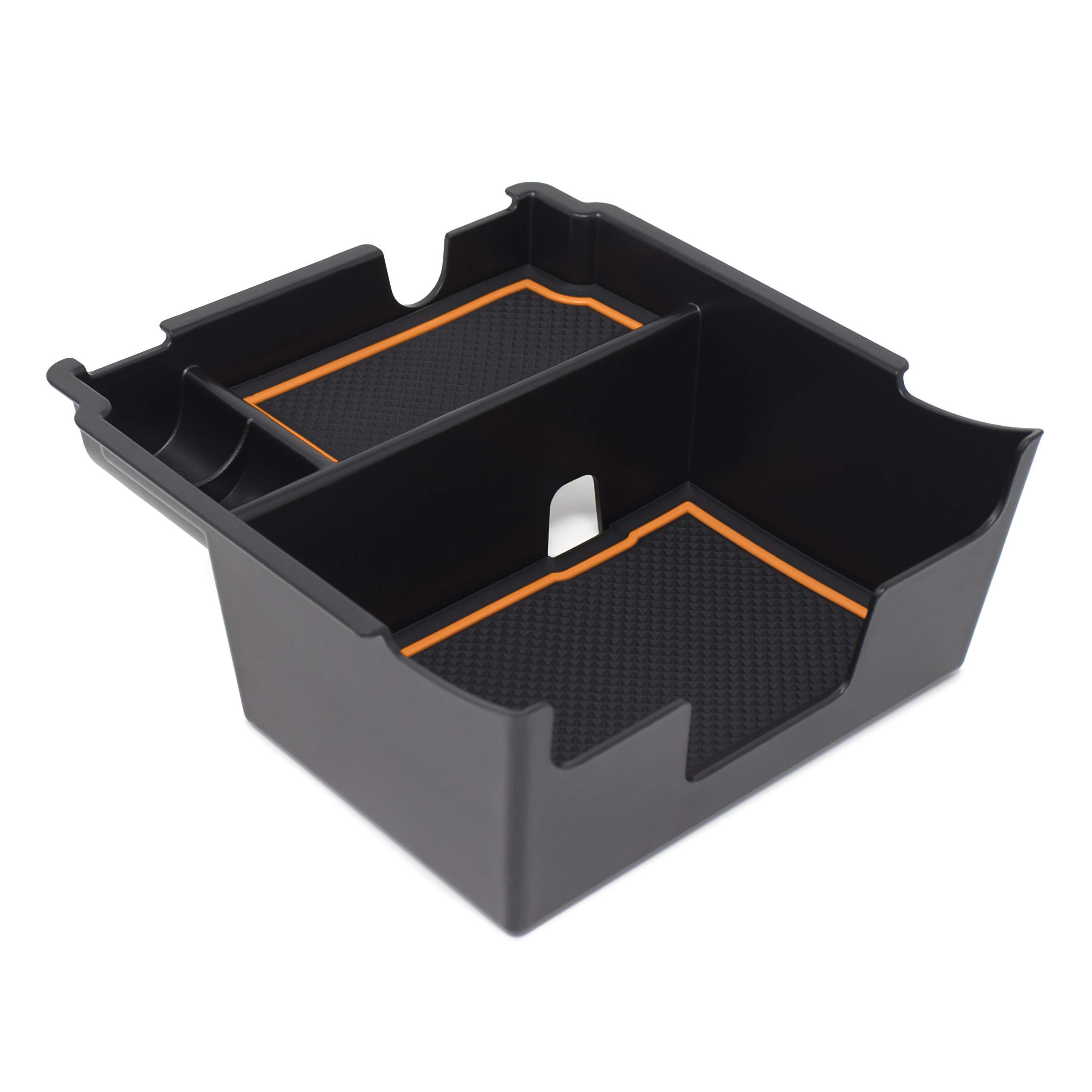 Custom Fit Center Console Armrest Organizer Accessories for 2018 2019 Subaru Crosstrek and Impreza (Orange Trim) by CupHolderHero