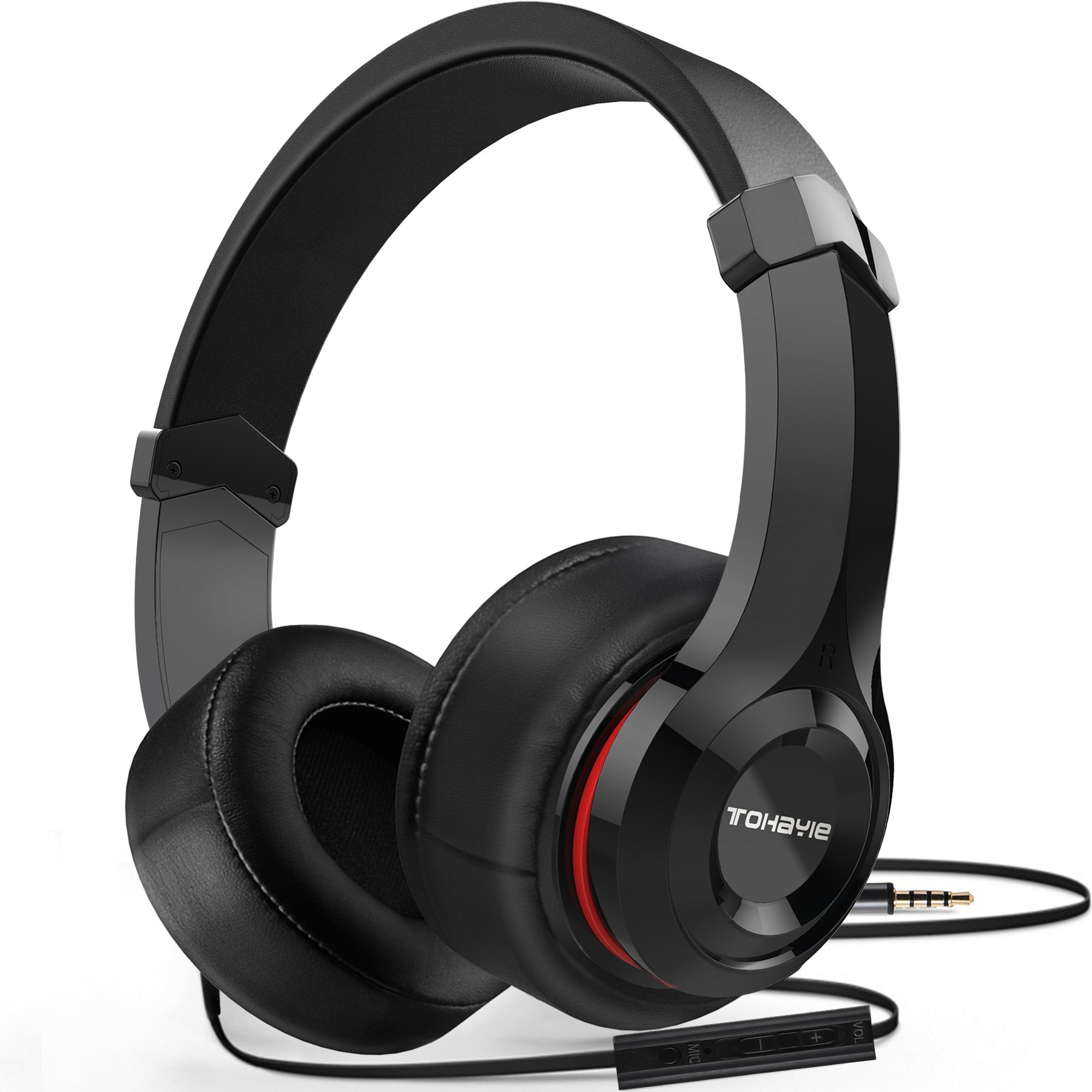 Over Ear Headphones, ToHayie Wired Stereo Headphones, Lightweight Headsets with Volume Control and Microphone,3.5mm Plug for Cellphone,Laptop,Computer,Perfect for Movies and Kids