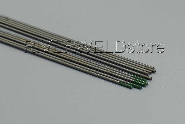 Paquete de 10 Soldadura TIG pura Electrodos tungsteno Verde WP 2,0mm x 150mm