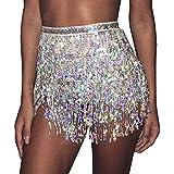 Victray Belly Dance Hip Skirt Tassel Scarf Sequin Wrap Rave Costume for Women