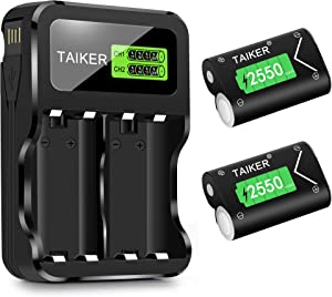 Compatible with Xbox One Battery 2 Pack x 2550mAh Rechargeable Controller Battery and Charger for Xbox One/Xbox One S/Xbox One X/Xbox One Elite Wireless Controller