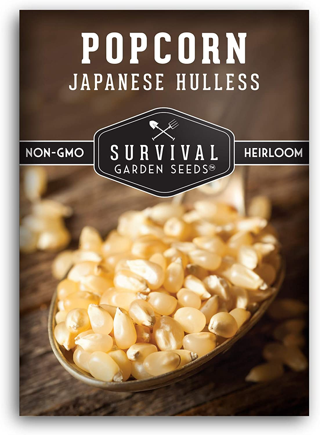 Survival Garden Seeds - Japanese Hulless Popcorn Seed for Planting - Packet with Instructions to Plant and Grow in Your Home Vegetable Garden - Non-GMO Heirloom Variety