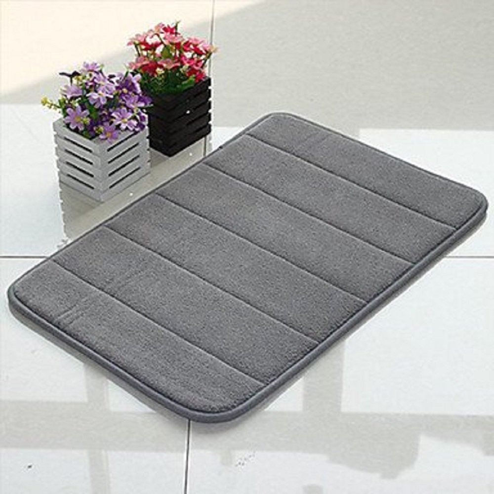 Grey Memory Foam Bath Mat - Incredibly Soft Absorbent Rug Sets - Non-Slip and 17 x 24 inches - Use for Kitchen or Bathroom
