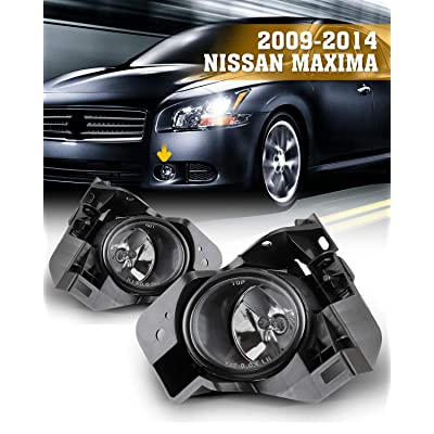 AUTOFREE Fog Lights Compatible with 2009-2014 Nissan Maxima H11 12V 55W Bulbs Driving Lamp Assembly included Wiring Kit & Switch- 1Pair (Clear Lens): Automotive