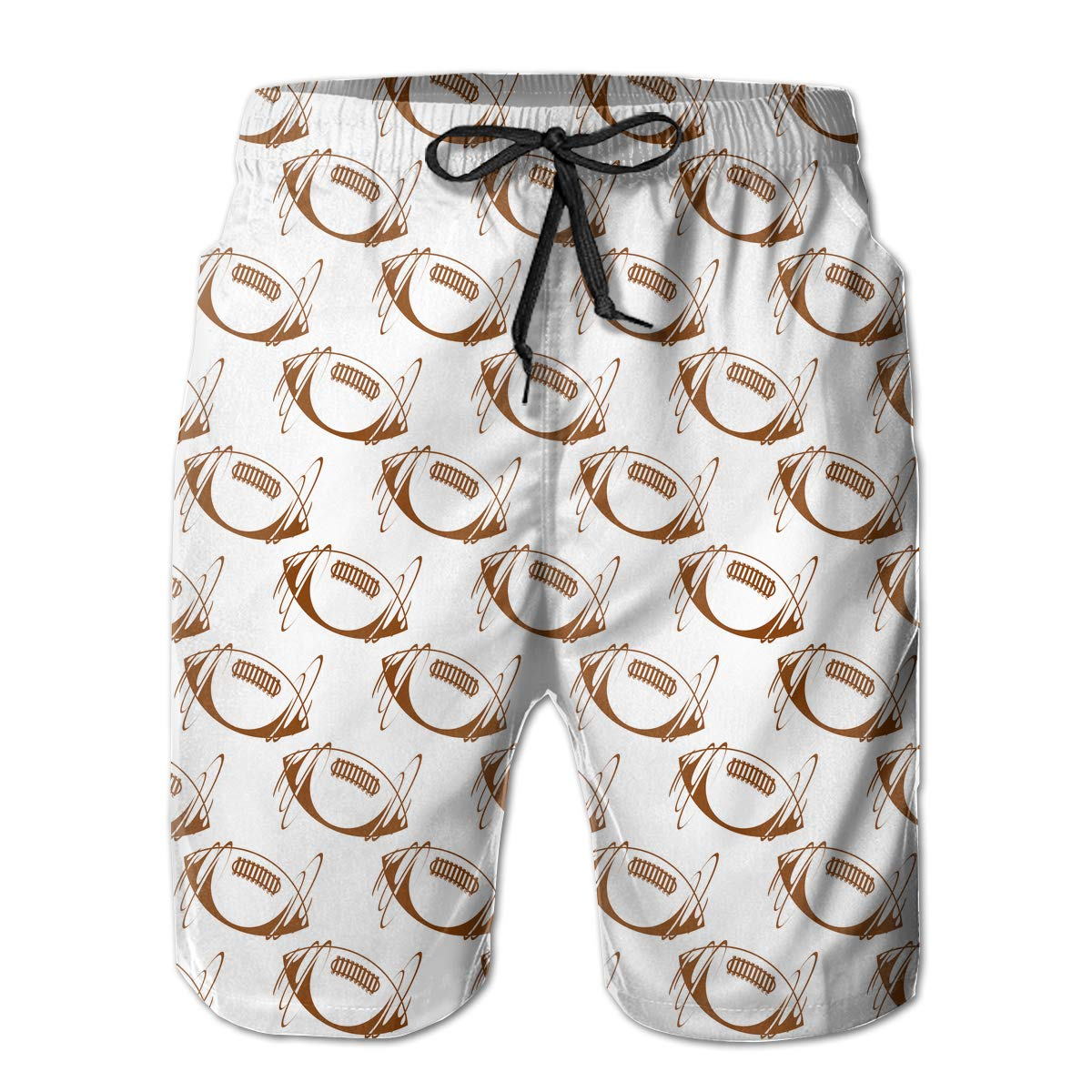 Brown Rugby Ball Mens Beach Shorts Casual Surfing Trunks with 3 Pockets