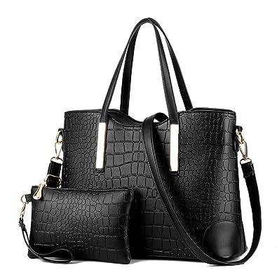 XIN BARLEY Women Shoulder Bag 2 Piece Tote Bag Pu Leather Handbag Purse  Bags Set Black 776303964ca1a