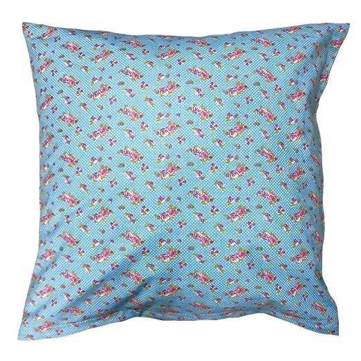 Almohada de 40 x 40 cm, flores lunares en turquesa, algodón ...