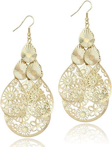Lightweight Earrings Gold Dangle Earrings Gold Teardrop Earrings Gold Filigree Pendant Necklace