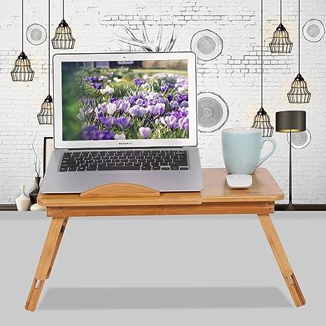 GOTOTOP Ajustable Bambú Estante Soporte de Cama para Dormotorio Plegable Escritorio Mesa Portátil para Ordenador Portátil