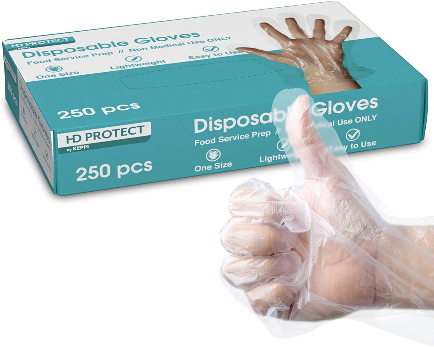 250 Pack Plastic Gloves - Best Value Food Prep Gloves Bulk Disposable Gloves Transparent Plastic Gloves for Food Service, Cleaning, Food Handling, Shared Spaces One Size Fits Most
