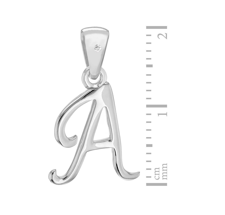 Tuscany Silver 8.44.7424 Cadena con colgante de plata, diamante (0.04), 46 cm, Letra A: Amazon.es: Joyería