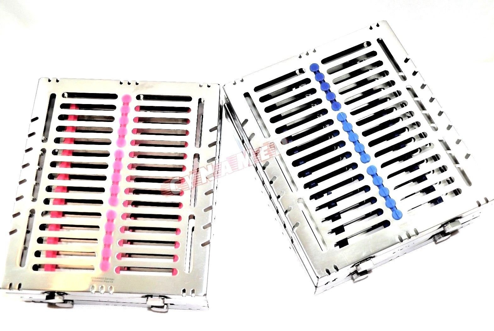 4 German Dental Autoclave Sterilization Cassette Tray for 15 Instruments 8.25X7.25X1.25'' Pink and Blue CYNAMED by CYNAMED (Image #3)